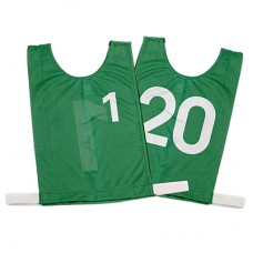 Junior Numbered Basketball Mesh Vests Green- set 1-20
