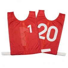 Senior Numbered Basketball Mesh Vests Red 1-20