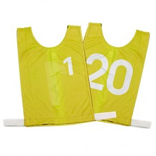 Junior Numbered Basketball Mesh Vests Yellow- set 1-20