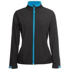 JB's Ladies Soft Shell Jacket - Black/Aqua - Size 12